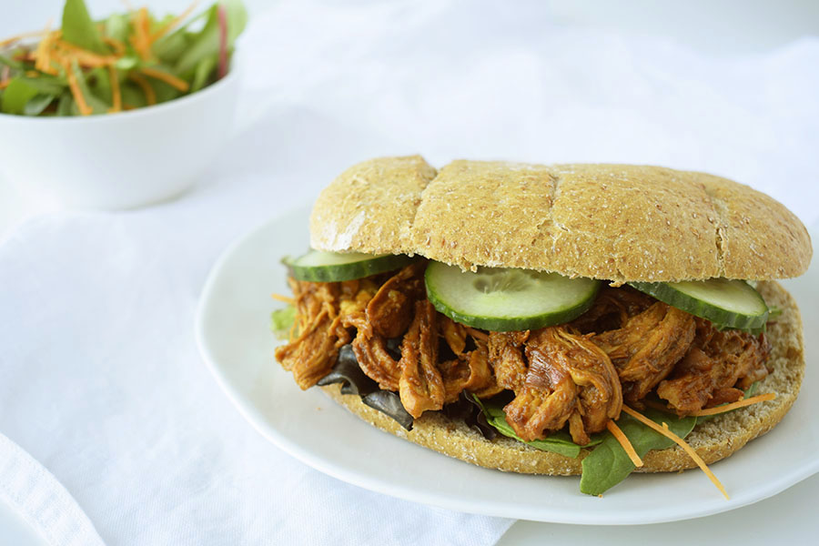 Pulled Chicken broodje FitFoodFab